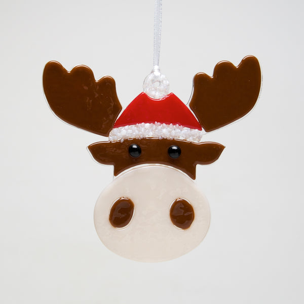 Glass Santa Moose ornament by Sondra Gerber - © Blue Pomegranate Gallery