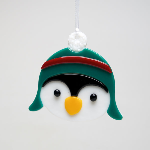 Glass Penguin in Hat ornament by Sondra Gerber - © Blue Pomegranate Gallery