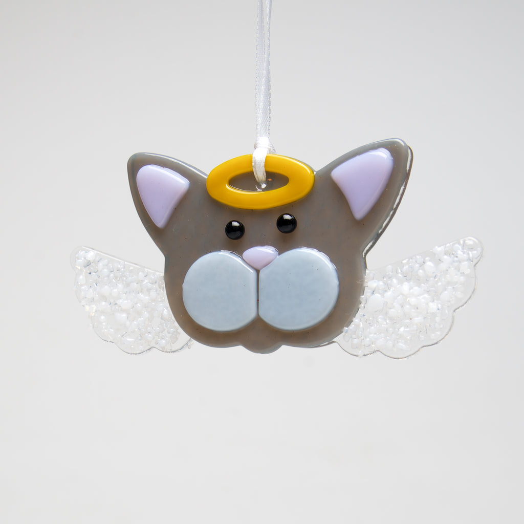 Glass Angel Cat ornament by Sondra Gerber - © Blue Pomegranate Gallery