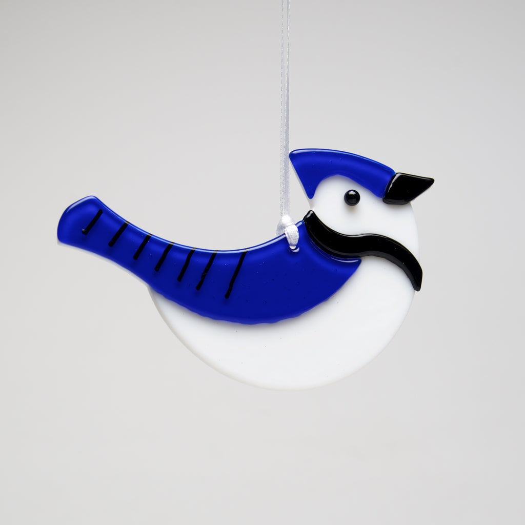 Glass Bluejay ornament by Sondra Gerber - © Blue Pomegranate Gallery