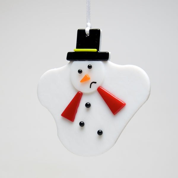 Glass Melted Snowman ornament by Sondra Gerber - © Blue Pomegranate Gallery