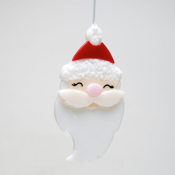 Glass Santa Face ornament by Sondra Gerber - © Blue Pomegranate Gallery