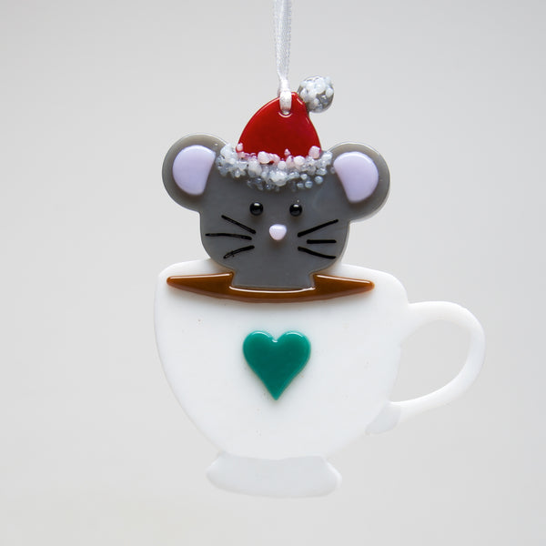 Glass Tea cup Mouse ornament by Sondra Gerber - © Blue Pomegranate Gallery