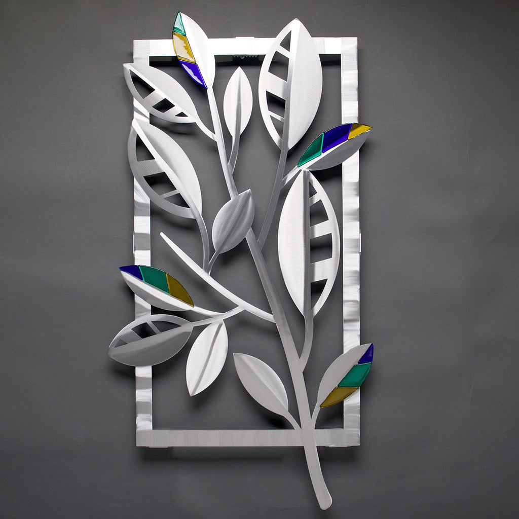 Striped Leaves with Glass by Sondra Gerber - © Blue Pomegranate Gallery