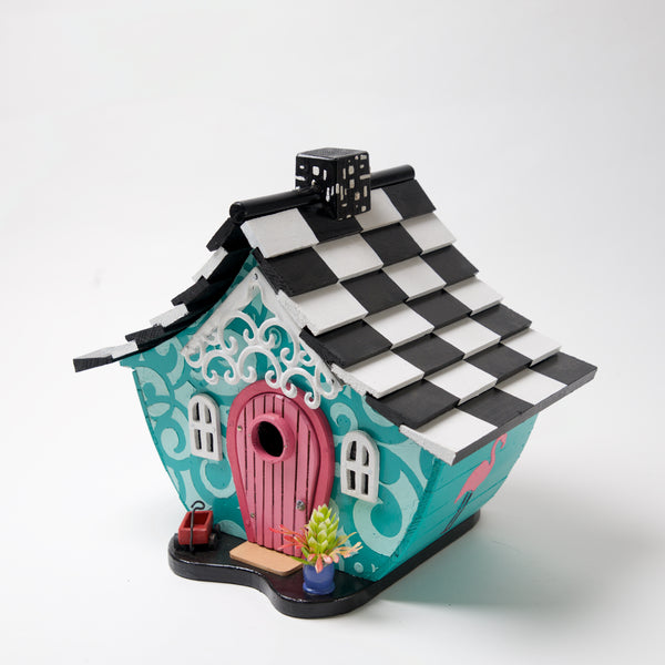 Teal Flamingo Bird House by Coulter & Determan - © Blue Pomegranate Gallery