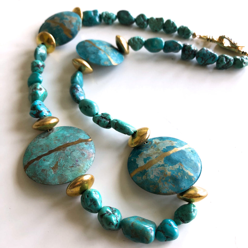 Turquoise Nugget Necklace with accent beads by Trudy Foster - © Blue Pomegranate Gallery