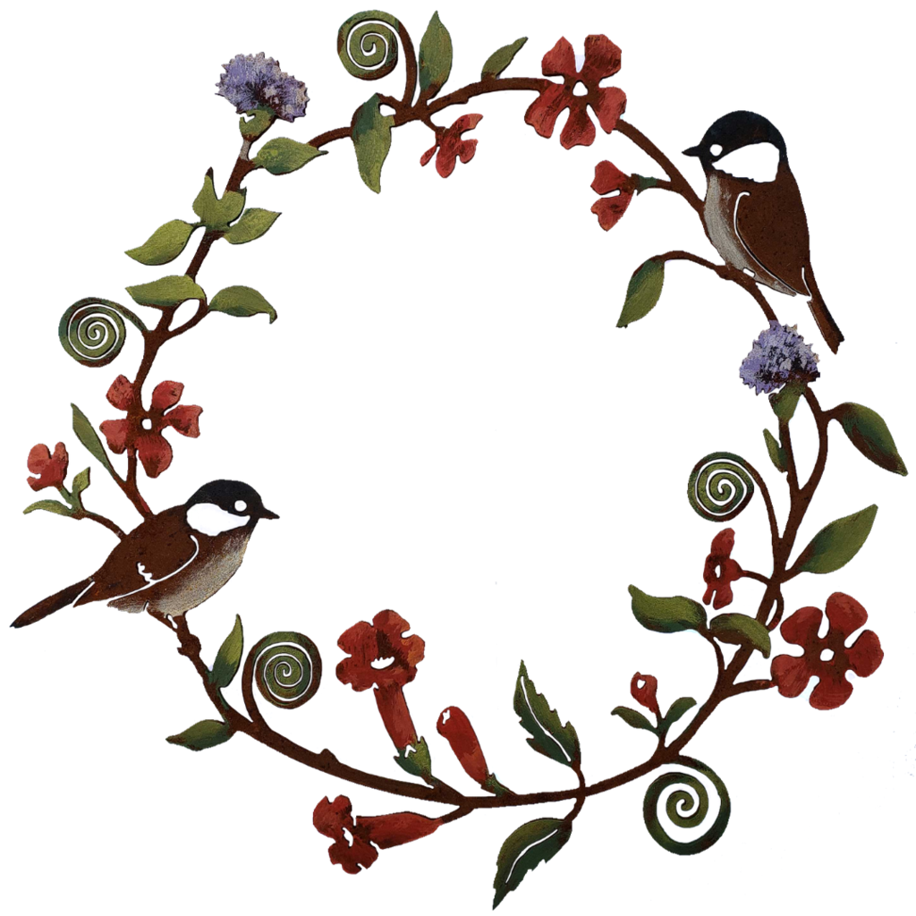 Chickadee& Flowers Wreath by Jim & Madeleine Crowdus - © Blue Pomegranate Gallery