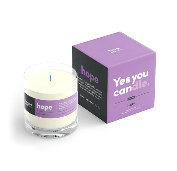 Hope Yes You CANdle, 9.5 oz. 100% Soy, hand poured, 60 hr burn time - © Blue Pomegranate Gallery