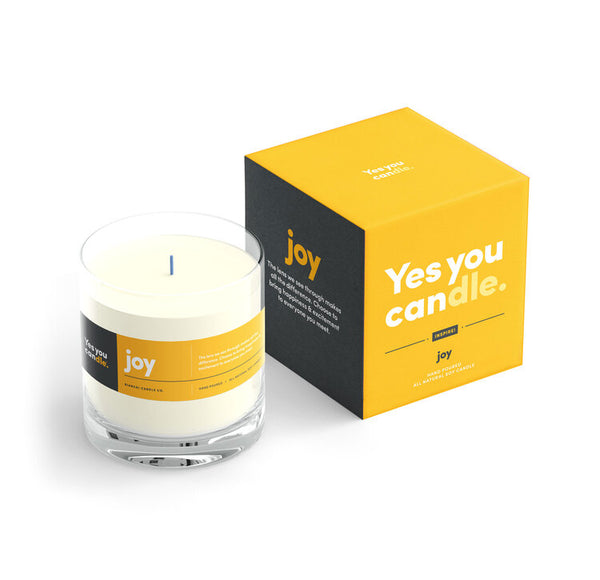 Joy Yes You CANdle, 9.5 oz. 100% Soy, hand poured, 60 hr burn time - © Blue Pomegranate Gallery