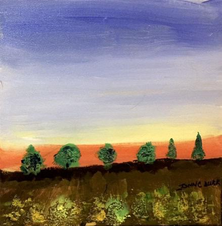 "Tree Line 2 by John Durr - Original Acrylic, 12 x 12"" - © Blue Pomegranate Gallery"