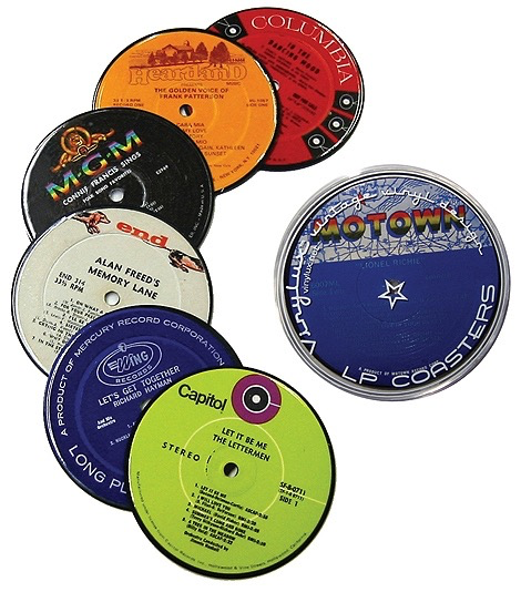Record Label Coasters by Jeff Davis, set of 6