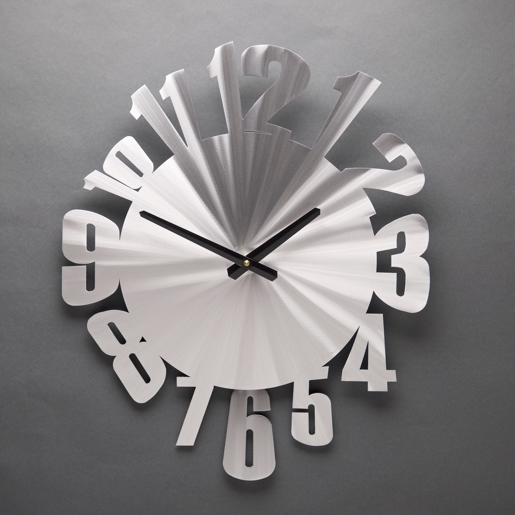 "Warped - Aluminum Wall Clock  with Pendulum by Sondra Gerber 15 x 18"" - © Blue Pomegranate Gallery"