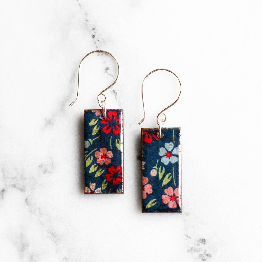 Navy Floral Japanese Paper & Wood Earrings by Jayme Lillie