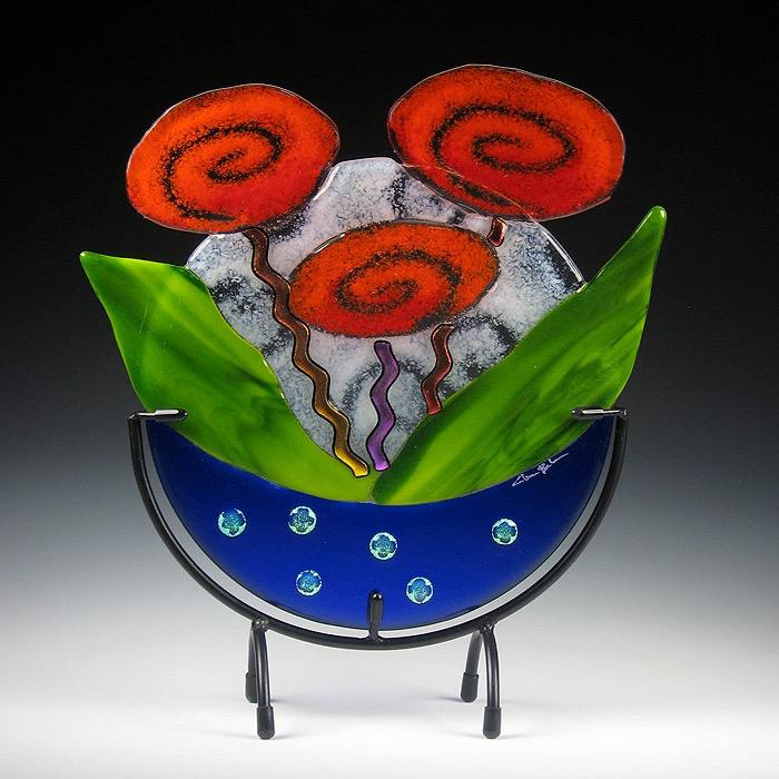 Cobalt Rose Bowl, Red Roses in stand by Charlotte Behrens - © Blue Pomegranate Gallery