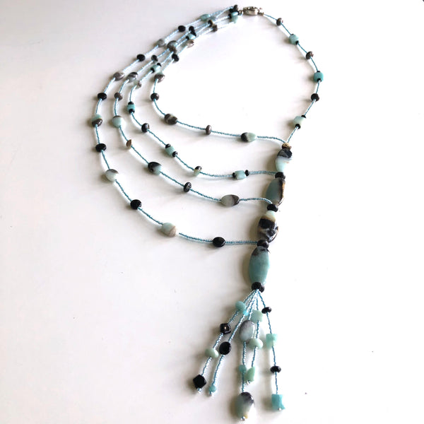 5 strand necklace, 4 oval Amazonite beads by Trudy Foster - © Blue Pomegranate Gallery