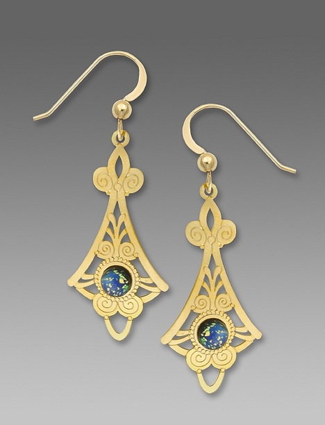 7514 Gold FIligree Necktie Earrings by Barbara MacCambridge - © Blue Pomegranate Gallery