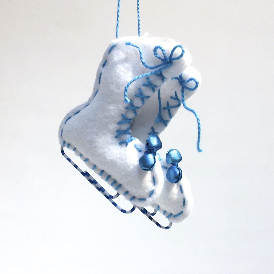 Felted Ice Skate Ornaments by Lois Froistad