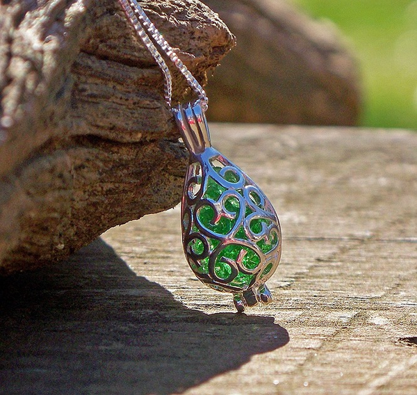Emerald Silver Filigree Teardrop Necklace by Laura Bergman