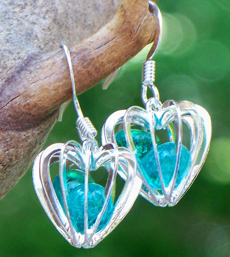 Mason Jar Heart Cage Earrings by Laura Bergman - © Blue Pomegranate Gallery