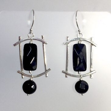 Curved Wire Earrings with Faceted Onyx by Cassie Leaders