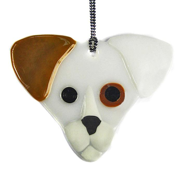Jackie Brown & White Eared Dog Ornament, Sun Catcher by Charlotte Behrens