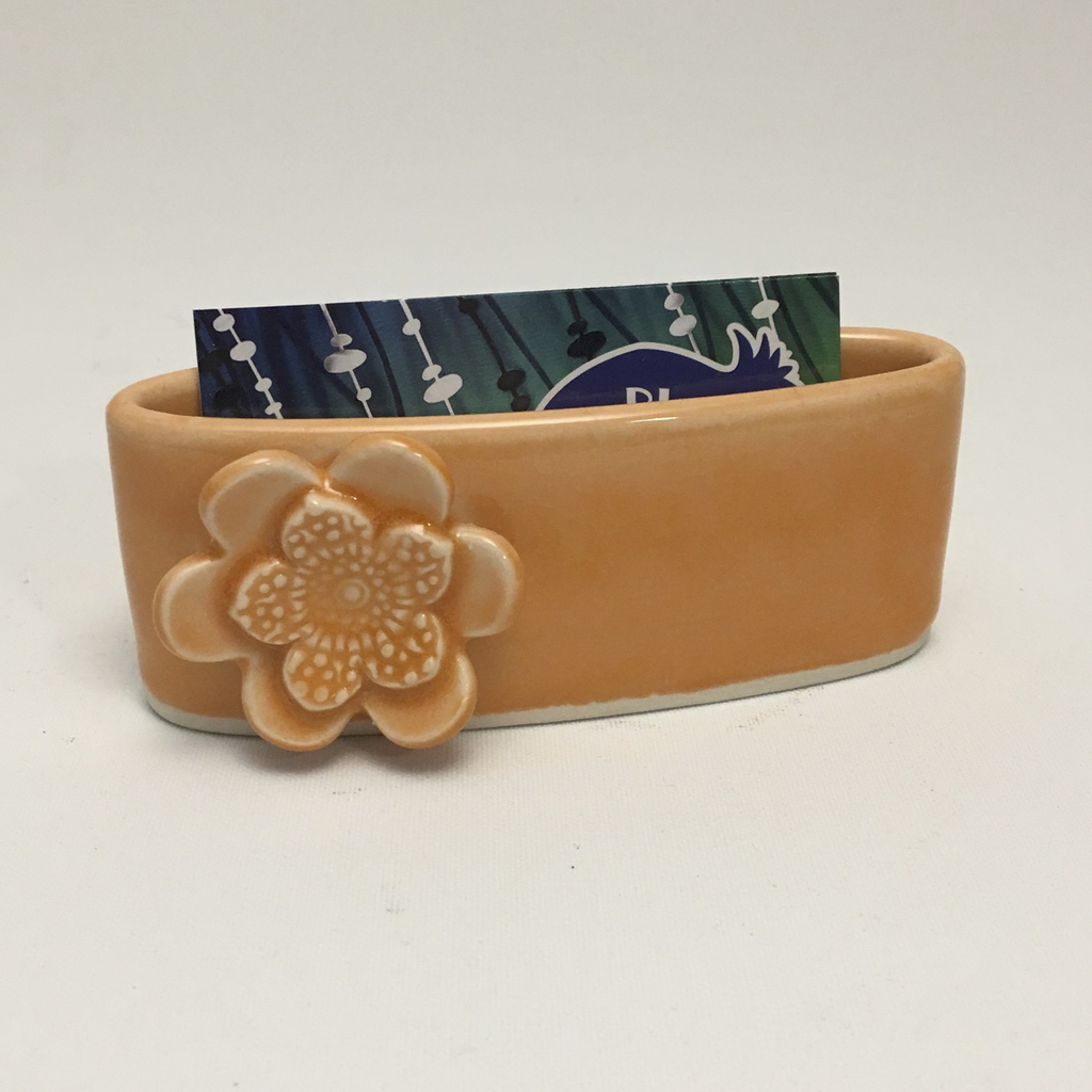 Orange Porcelain Business Card Holder by Berls & McConnell - © Blue Pomegranate Gallery