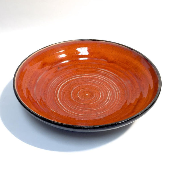 Wide Bowl/Platter in Red with Black Exterior by Tim Axtman