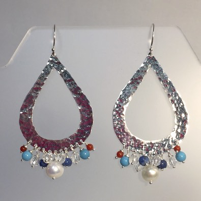 LG Hammered Teardrop Earrings with white pearls, lapis, coral, turquoise and crystal quartz by Cassie Leaders