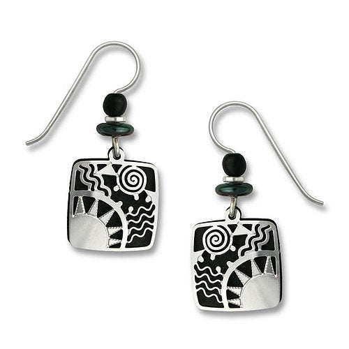 7303 Black Square Sunrise Earrings by Barbara MacCambridge - © Blue Pomegranate Gallery