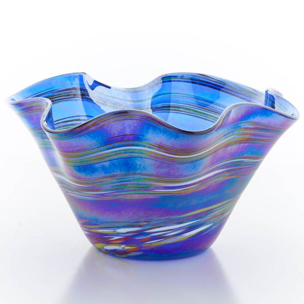 Blue Rainbow Large Ruffle Bowl by Glass Eye - © Blue Pomegranate Gallery