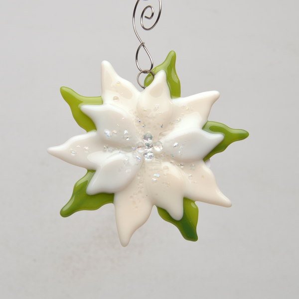 White Poinsettia Ornament by Denise Childs - © Blue Pomegranate Gallery