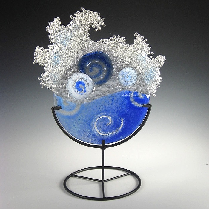 Mini Dk Blue Splash in stand by Charlotte Behrens - © Blue Pomegranate Gallery