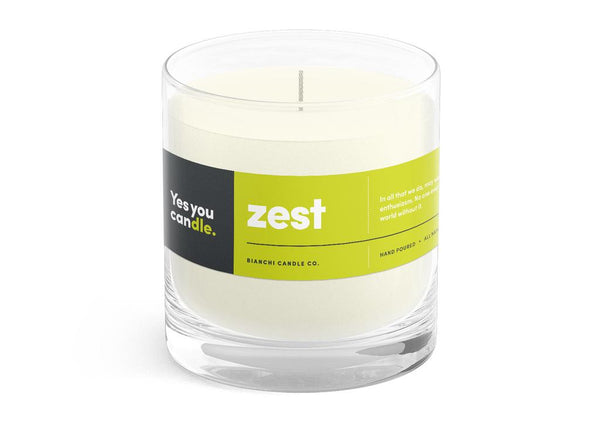 Zest Yes You CANdle, 8 oz. 100% Soy, hand poured, 60 hr burn time - © Blue Pomegranate Gallery