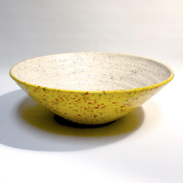 Wide Bowl in Speckled Yellow with Speckled White Interior by Tim Axtman