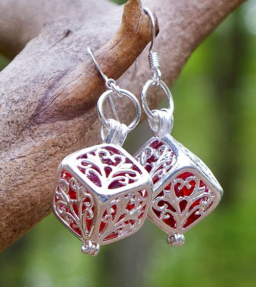 Ruby Beer Bottle Glass in Silver Filigree Box Earrings by Laura Bergman - © Blue Pomegranate Gallery