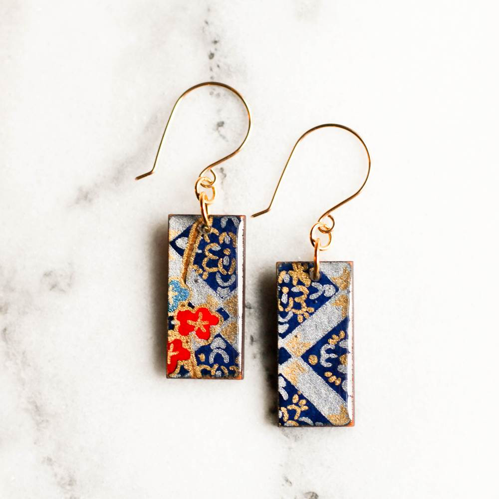 Navy, Red & Gold Vintage Japanese Paper & Wood Earrings by Jayme Lillie
