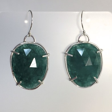 Faceted Green Onyx Wire Wrapped Earrings by Cassie Leaders