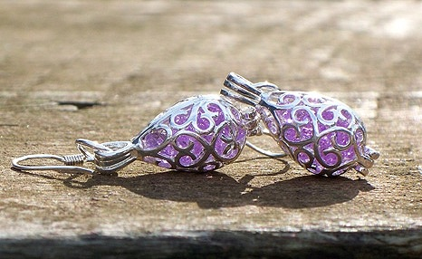 Amethyst Silver Filigree Teardrop Earrings by Laura Bergman