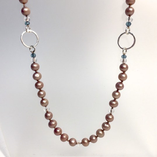 Sand Pearls with Quartz Crystals and Hammered Circles Necklace by Cassie Leaders