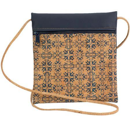 Navy Tile Print Be Lively Small Cork Cross Body Bag by Natalie DiBello - © Blue Pomegranate Gallery