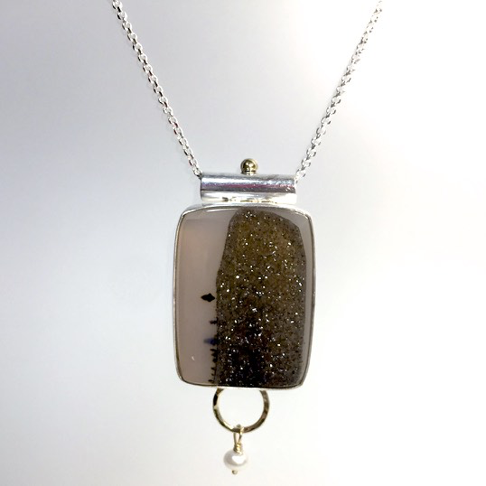 Druzy Agate with 14K Yellow Gold and Sterling Necklace by Cassie Leaders - © Blue Pomegranate Gallery