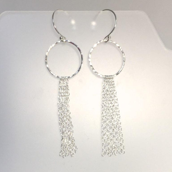 Sterling Circle Chain Skinny Fringe Earrings by Cassie Leaders