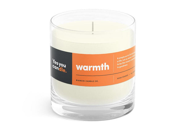 Warmth Yes You CANdle, 8 oz. 100% Soy, hand poured, 60 hr burn time