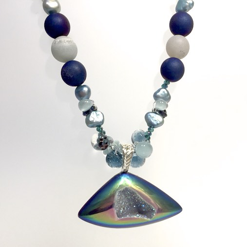 Freeform Druzy Pendant with Druzy and Pearl Beads by Trudy Foster - © Blue Pomegranate Gallery