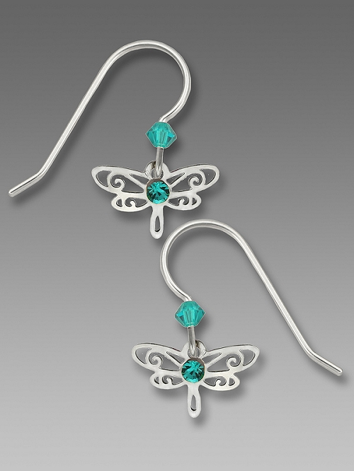 Blue Zircon Mini Dragonfly Earrings by Barbara MacCambridge