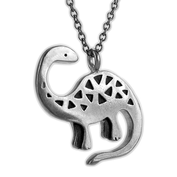 Pewter Brontosaurus Necklace by Mark Poulin - © Blue Pomegranate Gallery