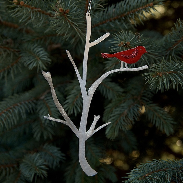 Bird Branch Ornament by Sondra Gerber