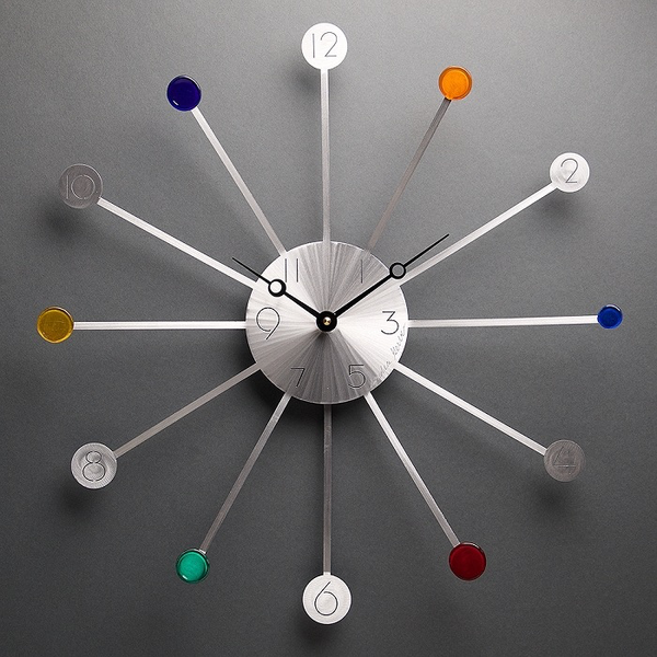 Starburst Pendulum Wall Clock with glass by Sondra Gerber