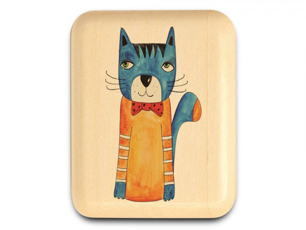 "Blue Cat with Bowtie Secret Box 1 x 1 1/2 x 2"" by Michael Fisher - © Blue Pomegranate Gallery"
