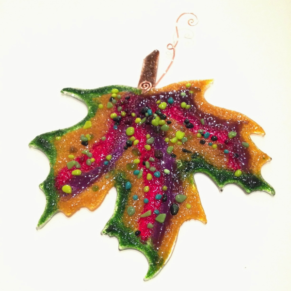 Maple Leaf Sun Catcher by Riha - © Blue Pomegranate Gallery